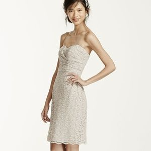 David's Bridal all over lace short strapless dress